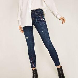 Zara Denim Splatter Paint Raw Hem Skinny Jeans